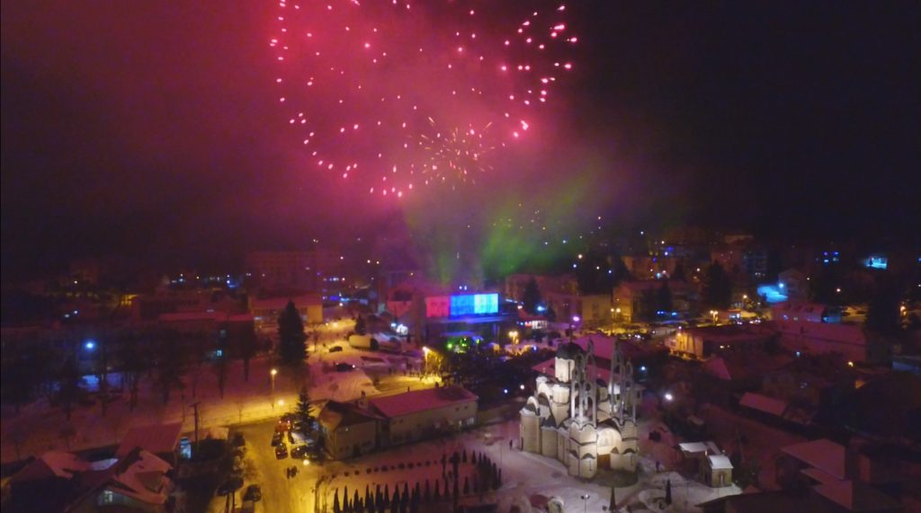 U Leposaviću dočekana Srpska pravoslavna Nova godine pored hrama sv. Vasilije Ostroškog Tvrdoškog iz vatromet i koncert na tgu